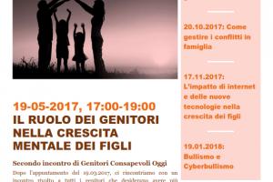 """Incontro """"Il ruolo dei genitori nella crescita mentale dei figli"""" – venerdì 19 maggio 2017 –  ore 17 – Parrocchia San Pancrazio (Roma)"""